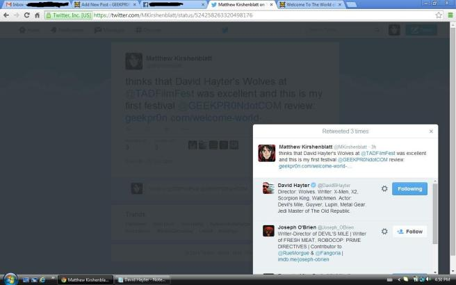 David Hayter Fav and Retweet